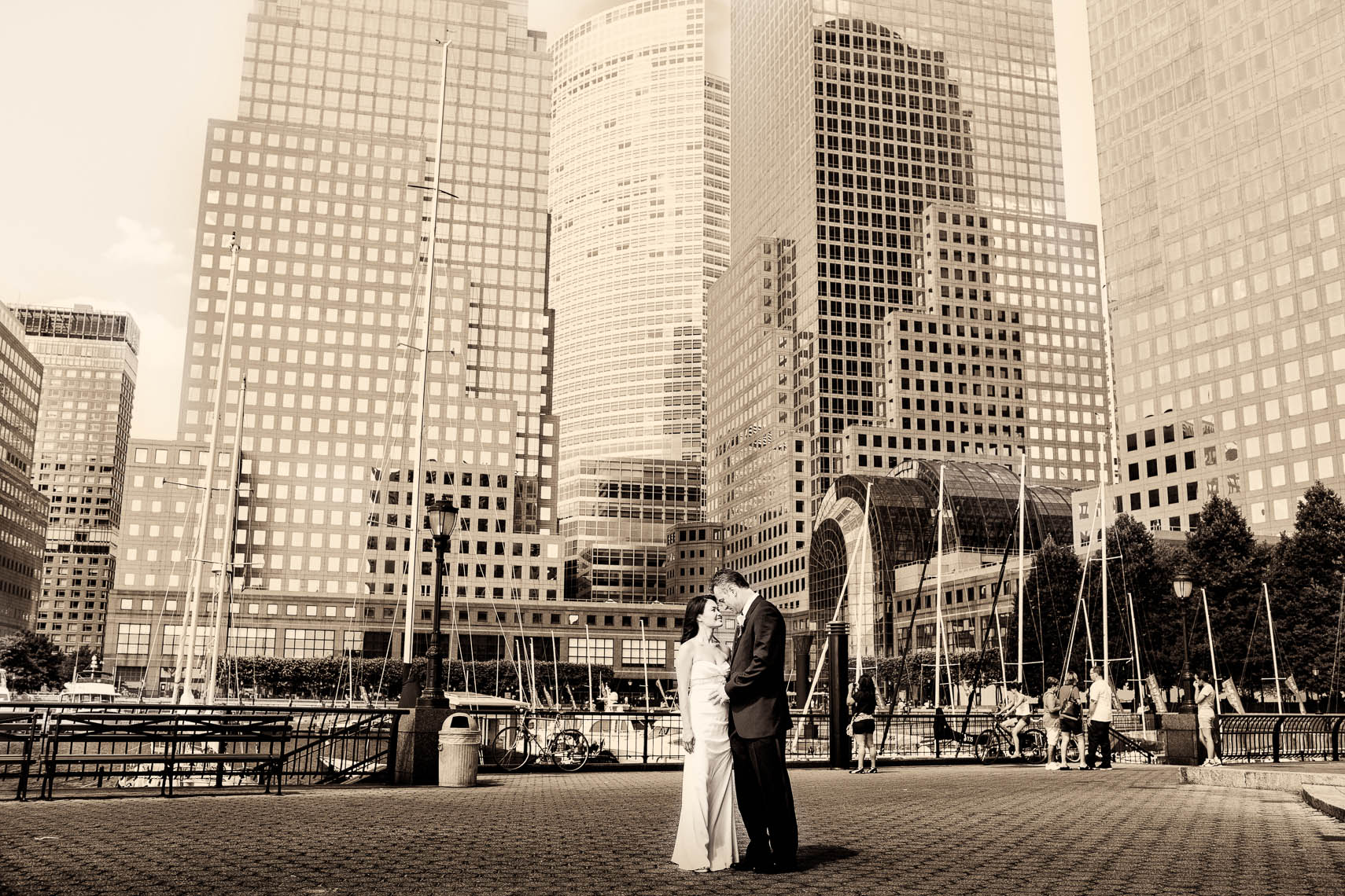 Sepia Battery Park Gardens Wedding