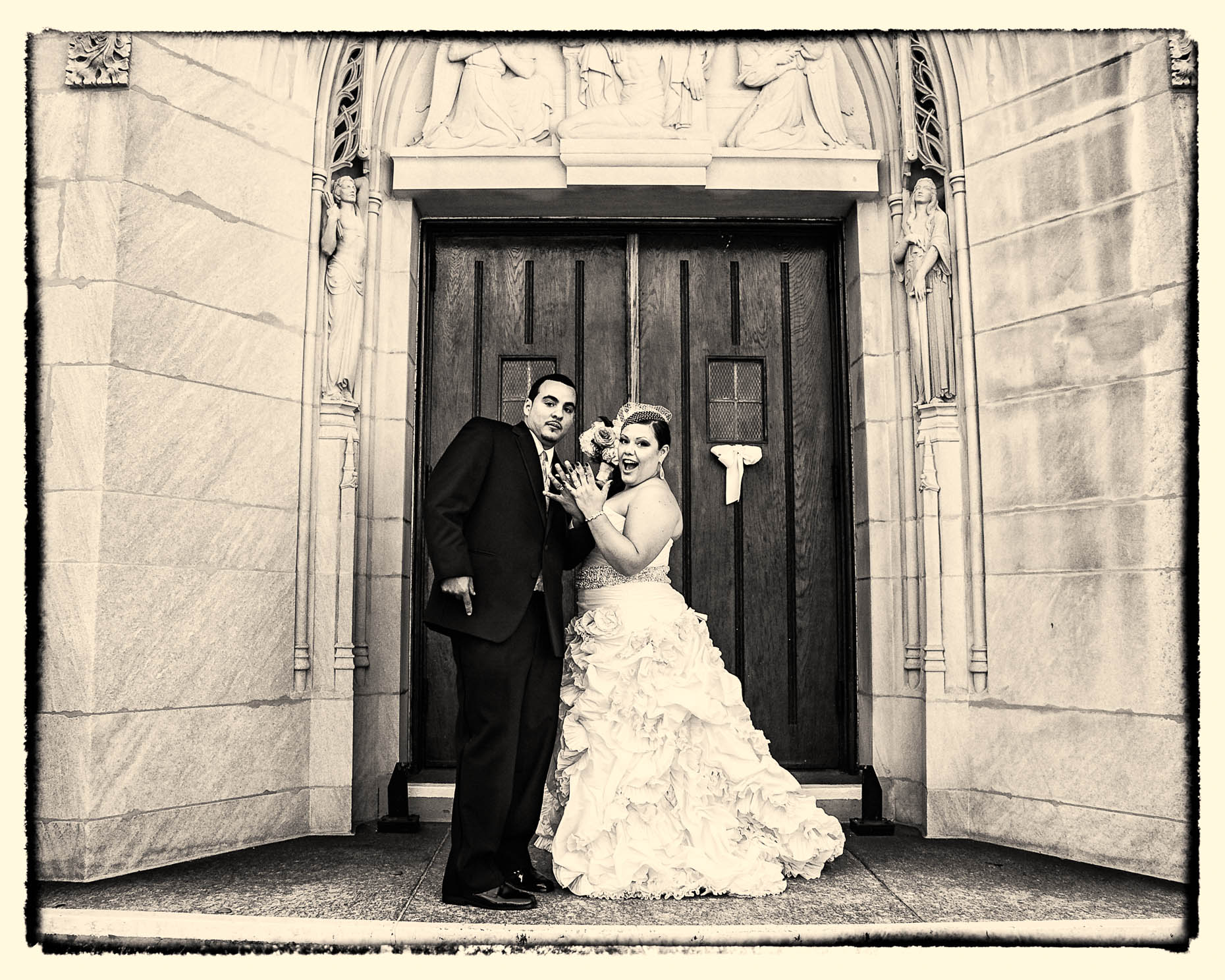 Queens Church Wedding Portrait Sepia