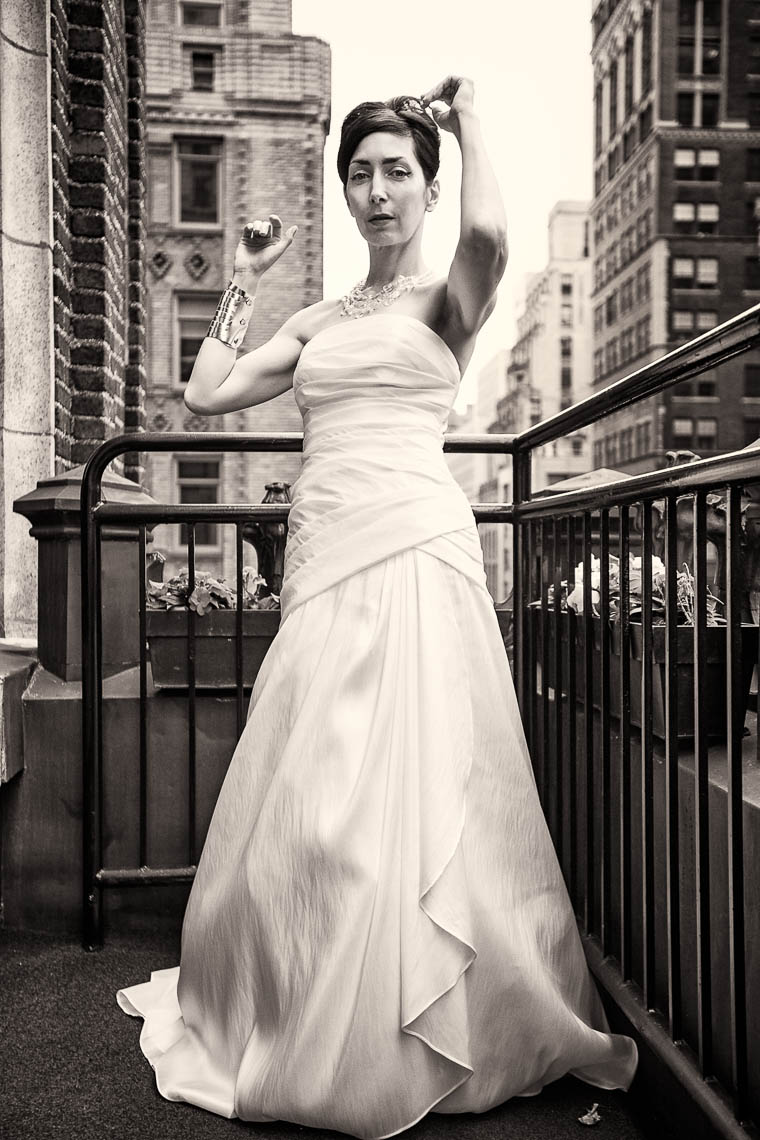 Stylish NYC Library Hotel Wedding Portrait 2